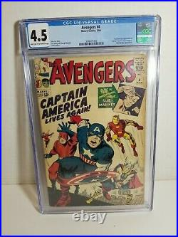 1964 Marvel Comics The Avengers #4 CGC 4.5 1st Silver Age Captain America