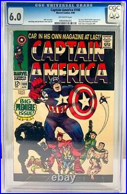 1968 Marvel Captain America #100 Comic Book CGC 6.0 OW Pages