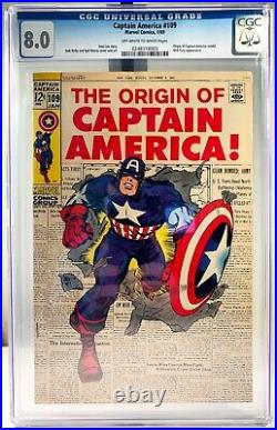 1969 Marvel Captain America #109 Comic Book CGC 8.0 OWithW Pages