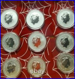 2017 Marvel Comics silver coin set Spiderman, Thor, Hulk, Captain America, Venom