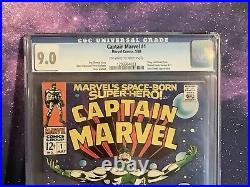 3rd Captain Marvel #1 CGC 9.0 2nd Carol Danvers 2nd Ronan The Accuser Comic 1968