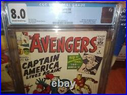 AVENGERS 4 CGC 8.0 (3/64) OWithW re-intro of Captain America, early SA Sub-mariner