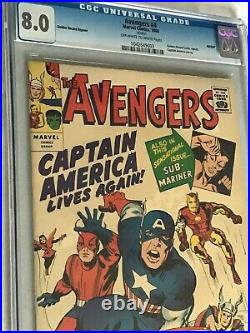 AVENGERS #4 GOLDEN RECORD REPRINT (1966) CGC 8.0 OWithW Captain America Jack Kirby