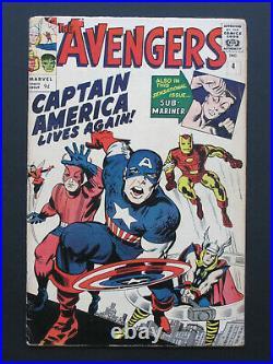 AVENGERS # 4 US MARVEL 1964 revival of / 1st CAPTAIN AMERICA KIRBY VG/VG+
