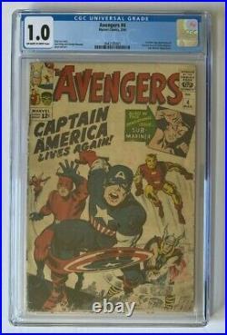 Avengers #4 CGC 1.0 1st Silver Age Captain America 1964 Marvel Comics