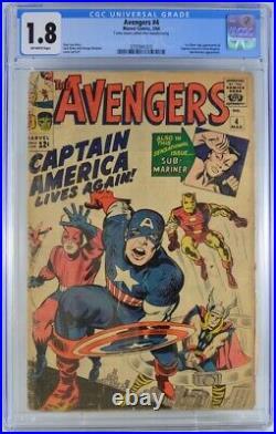 Avengers #4 CGC 1.8 1st Silver Age Captain America 1964
