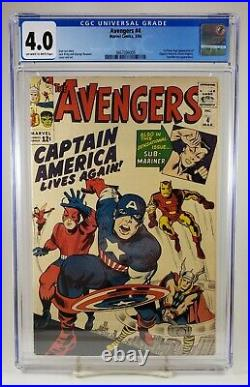 Avengers #4 CGC 4.0 1st Silver Age Appearance of Captain America Marvel 1964