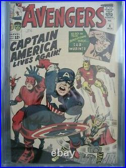 Avengers #4 CGC 6.5 1965 1st app Silver Age Captain America (Steve Rogers)