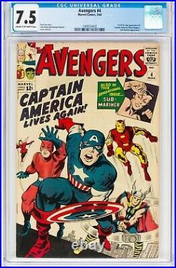 Avengers 4 CGC 7.5 1st SA app of Captain America! NICE COPY! WORLDWIDE SHIP