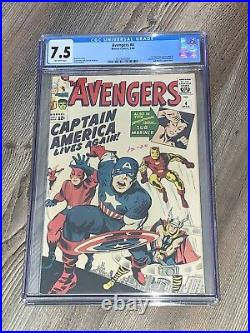 Avengers 4 CGC 7.5 VF- OW Marvel 1964 1st Silver Age Captain America