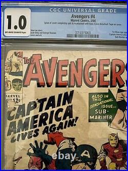 Avengers #4 CGC FR 1.0 OWithW 1964 1st SA Appearance of Captain America and Bucky