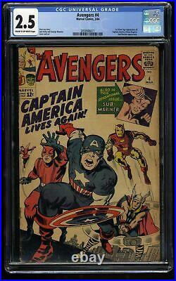 Avengers #4 CGC GD+ 2.5 Cream To Off White 1st Silver Age Captain America