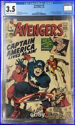 Avengers #4 Cgc 3.5 Vg- First Appearance Captain America Silver Age Key