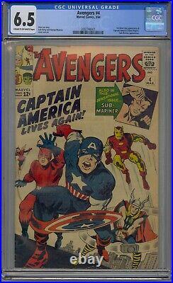 Avengers #4 Cgc 6.5 1st Silver Age Captain America