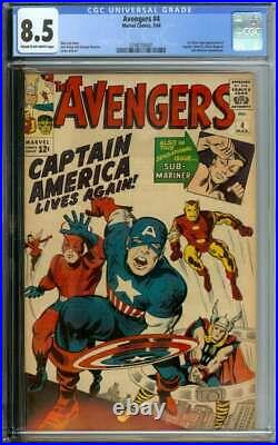 Avengers #4 Cgc 8.5 Cr/ow Pages // 1st Silver Age Captain America 1964