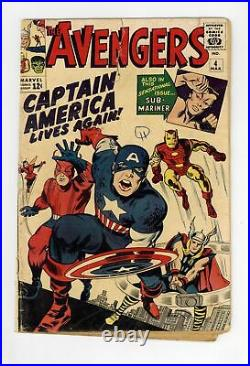 Avengers #4 FR 1.0 1964 1st Silver Age app. Captain America and Bucky