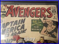 Avengers #4 Marvel 1964 CGC (2.0) RESTORED. 1st Captain America Silver Age App