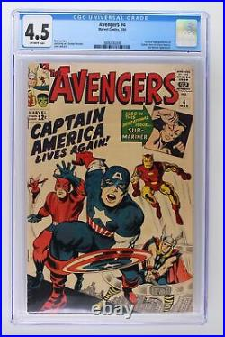 Avengers #4 Marvel 1964 CGC 4.5 1st Silver Age Appearance of Captain America