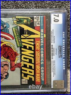 Avengers #97 CGC 7.0 White Pages Bronze Age Comic Captain Marvel Annihilus Ronan