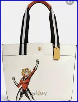 BNWT Coach Marvel Jes Carol Danvers Leather Purse Tote Bag Captain Marvel