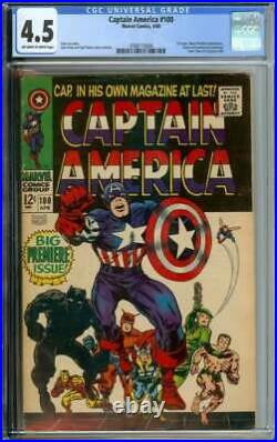 CAPTAIN AMERICA #100 CGC 4.5 OWithWH PAGES // 1ST ISSUE + BLACK PANTHER APP 1968