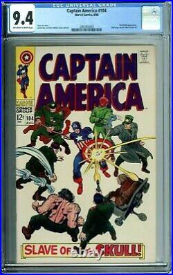 CAPTAIN AMERICA 104 CGC 9.4 RED SKULL JACK KIRBY Silver Age MARVEL COMICS 1968
