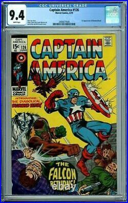 CAPTAIN AMERICA #126 CGC 9.4 WP 1st DIAMOND HEAD NEW CGC CASE MARVEL COMIC 1970