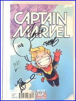 CAPTAIN MARVEL #1 CGC 9.8 Signed By Stan Lee, Kelly Sue, Skottie Young & Lopez