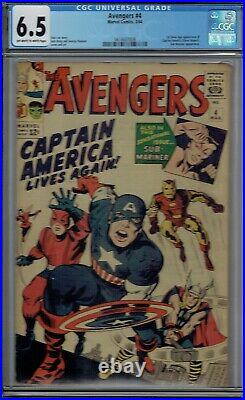CGC 6.5 AVENGERS #4 1ST APPEARANCE OF CAPTAIN AMERICA SILVER AGE OWithW PAGES 1964