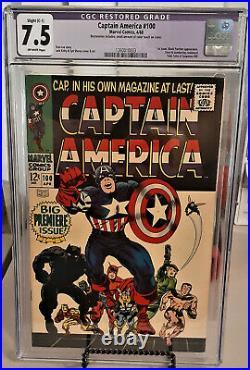 CGC 7.5 CAPTAIN AMERICA #100 Restored Slight Color Touch Marvel 1968