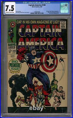 Captain America #100 CGC 7.5 (OW-W) 1st Silver Age Solo Title
