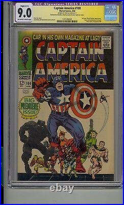 Captain America #100 Cgc 9.0 Ss Signed Stan Lee