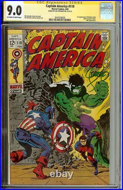 Captain America #110 CGC 9.0 Signed Steranko NO OFFERS