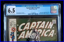 Captain America #113 CGC 6.5 Steranko Cover! Marvel Comics 1969 JUST GRADED