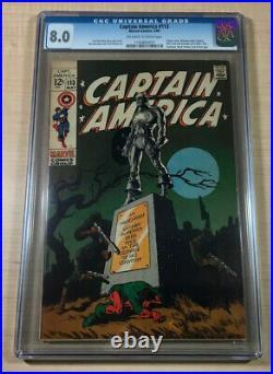 Captain America #113 CGC 8.0! Awesome Steranko Cover! Marvel Comics 1969