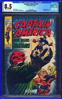 Captain America #115 CGC 8.5 1969 CLASSIC RED SKULL COSMIC CUBE COVER