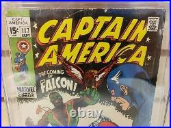 Captain America #117 1969 MARVEL Comics 1st Appearance Falcon Sam Wilson CGC 2.5