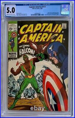Captain America #117 CGC 5.0 (1969) Origin & 1st App of The Falcon UNPRESSED