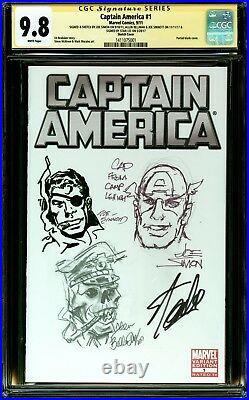 Captain America 1 Cgc 9.8 Ss 3x Sketch Joe Simon Bellman Sinnott Signed Stan Lee
