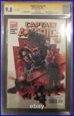 Captain America #6 Variant CGC 9.8 WP 1st Winter Soldier SS Sebastian Stan Auto