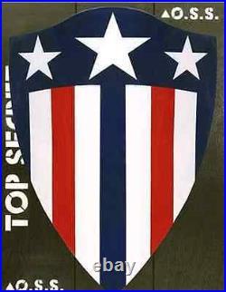 Captain America Comic Book Blue Stripe 1940 Life Size Heater Shield Replica Rare