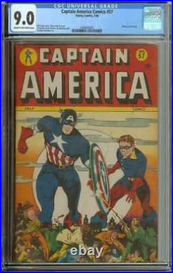Captain America Comics #57 Cgc 9.0 Cr/ow Pages // Golden Age Human Torch Story