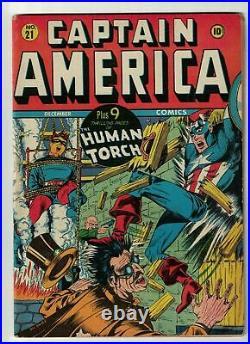 Captain America Golden age 21 FN 6.0 1942 avengers Marvel Timely Comics