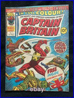 Captain Britain 1 (1976) Marvel Comics UK 1st appearance Captain Britain No mask