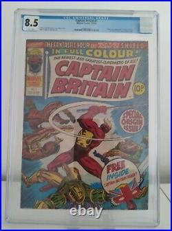 Captain Britain # 1 Cgc 8.5 Vf+ Key 1st Captain Britain With Mask Uk 1976