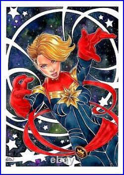 Captain Marvel (11x17) original and unique 1/1 comic art by Kinho Anderson