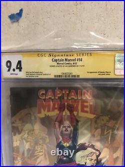 Captain Marvel #14 (Marvel) CGC 9.4 Signed + Sketched Quinones, 1st Kamala Khan