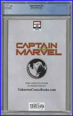 Captain Marvel 16 CGC 9.8 Unknown Comics Virgin Edition Brooks Cover Variant 150