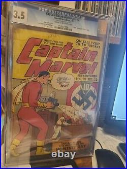 Captain Marvel Adventures #21 CGC 3.5 Feb 1943 Famous Nazi Adolf Hitler Cover