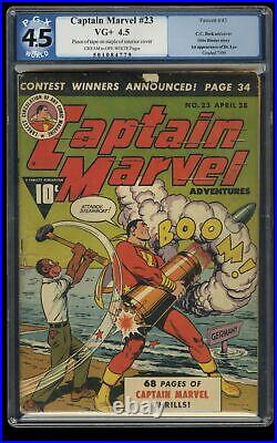 Captain Marvel Adventures #23 PGX VG+ 4.5 WWII Action Cover